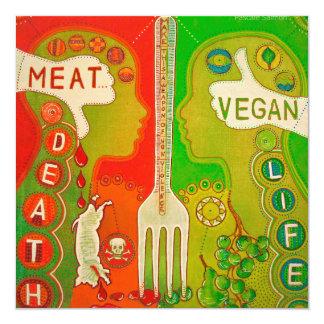Vegan fork life 5.25x5.25 square paper invitation card