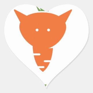 Vegan Fox Heart Sticker
