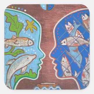 Vegan free fish square sticker