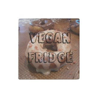 Vegan Fridge (featuring vegan donuts!) Stone Magnet