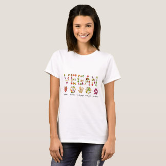 Vegan Fruit and Vegetables Emoji Collage T-Shirt
