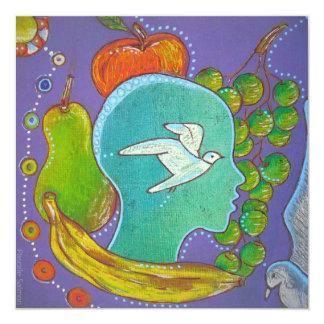 Vegan fruits bird 5.25x5.25 square paper invitation card