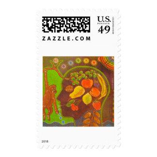 Vegan fruits monkey stamps