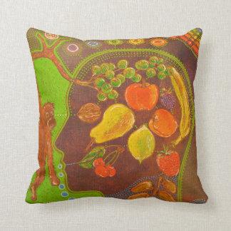 Vegan fruits throw pillow