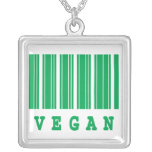 vegan funny barcode design necklace