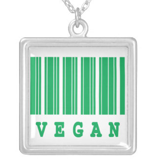 vegan funny barcode design silver plated necklace