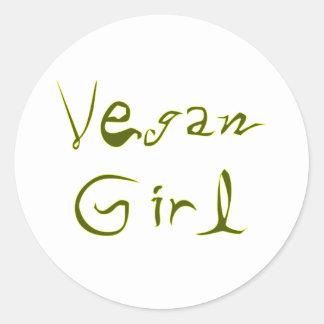 Vegan Girl 1 Classic Round Sticker