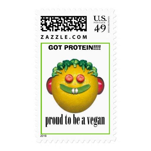 vegan, GOT PROTEIN!!!! - Postage Stamp