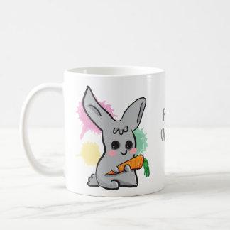 Vegan grey cute bunny with carrot mug