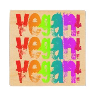 Vegan Grunge Rainbow Wooden Coaster