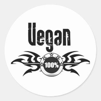 Vegan Grunge Winged Emblem Classic Round Sticker