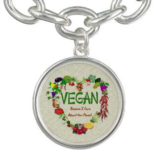 Vegan Heart Charm Bracelet