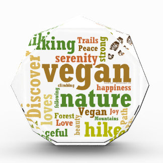 Vegan Hiker Hiking Word Cloud Acrylic Award