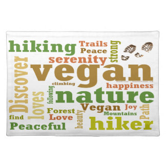 Vegan Hiker Hiking Word Cloud Cloth Placemat