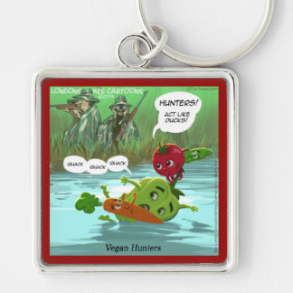 Vegan Hunters Funny Silver-Colored Square Keychain