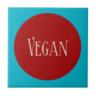 Vegan in a Red Circle Small Square Tile