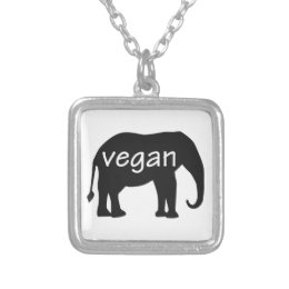 Vegan (in an elephant design) silver plated necklace