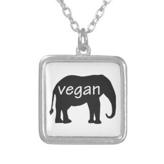 Vegan (in an elephant design) square pendant necklace