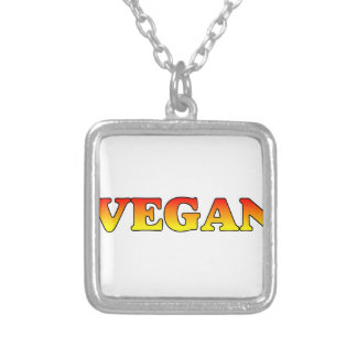 Vegan in Flames Silver Plated Necklace