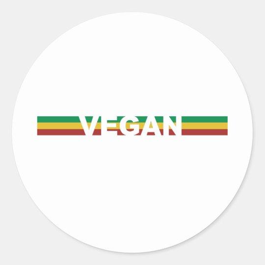 Vegan in Rasta Stripes Classic Round Sticker