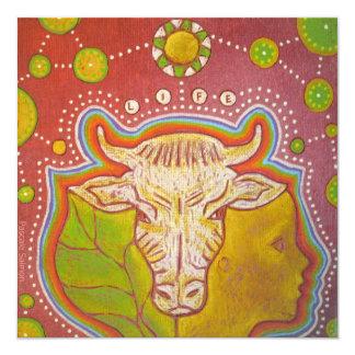 Vegan life 5.25x5.25 square paper invitation card