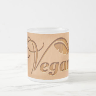 Vegan logo carved in wood effect frosted glass coffee mug