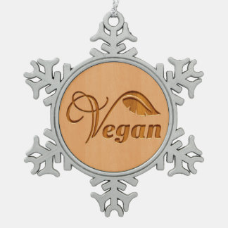 Vegan logo carved in wood effect snowflake pewter christmas ornament