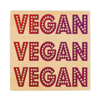 Vegan Logo Wooden Coaster