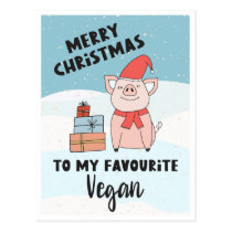 Vegan merry Christmas with cute piglet and gifts Postcard