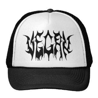 Vegan metal logo, white appare trucker hat