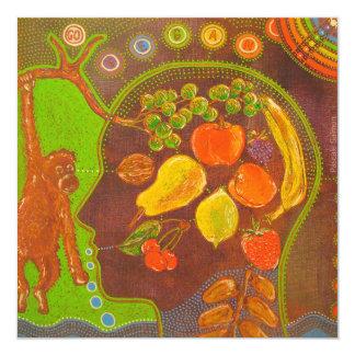 Vegan monkey fruits 5.25x5.25 square paper invitation card
