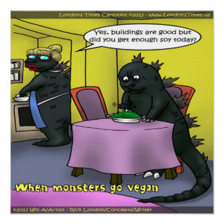 Vegan Monsters Funny Poster