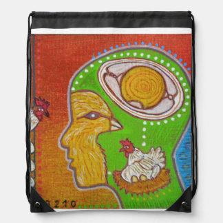 vegan No egg Drawstring Backpack