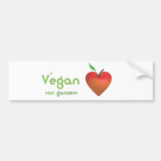 Vegan of whole heart (red apple heart) bumper sticker