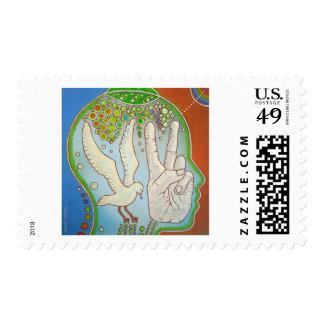 vegan peace bird stamp