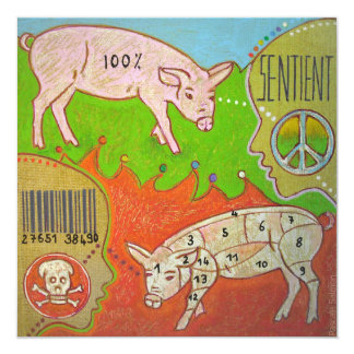 Vegan peace 5.25x5.25 square paper invitation card