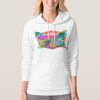 Vegan ~ Peace ~ Love!  Bright Design Hoodie