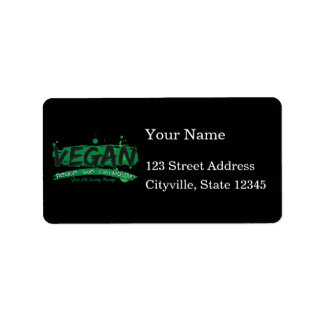 Vegan Peace Love Compassion Personalized Address Labels
