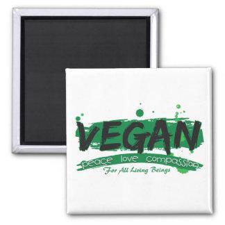 Vegan Peace Love Compassion 2 Inch Square Magnet