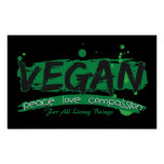 Vegan Peace Love Compassion Poster