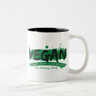 Vegan Peace Love Compassion Two-Tone Coffee Mug