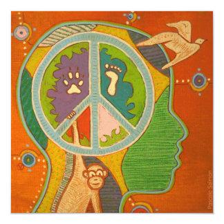 Vegan peace monkey 5.25x5.25 square paper invitation card