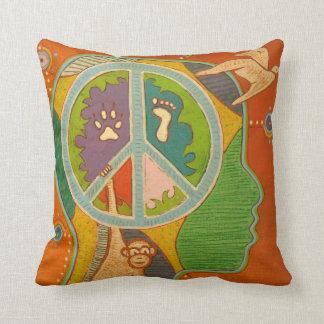Vegan peace throw pillow