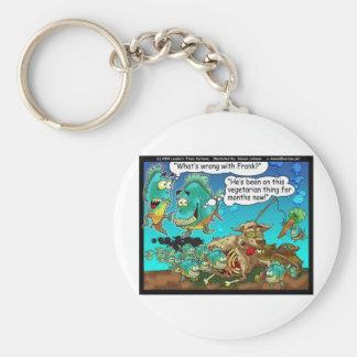 Vegan Pirahanas Funny Offbeat Cartoon Gifts Basic Round Button Keychain