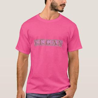 """""""VEGAN"""" Plume Block Type Design - PINK T-Shirt"""