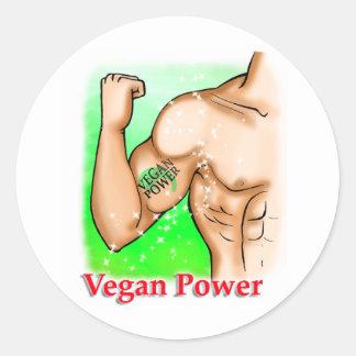 vegan power classic round sticker