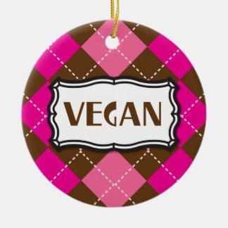 Vegan Pride Pink Brown Argyle Ceramic Ornament