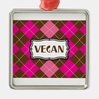 Vegan Pride Pink Brown Argyle Metal Ornament