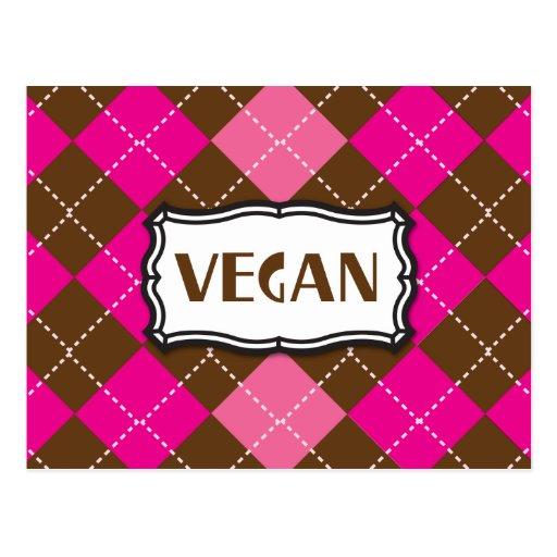 Vegan Pride Pink Brown Argyle Postcard