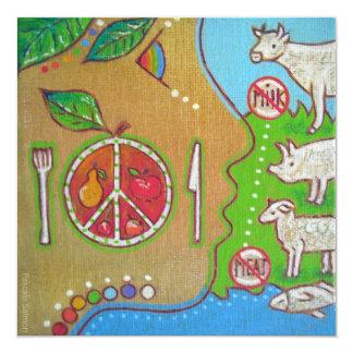 Vegan punt 5.25x5.25 square paper invitation card